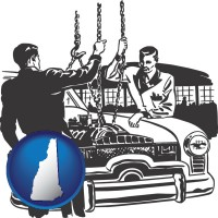 new-hampshire auto mechanics hoisting an engine out of a car with chains