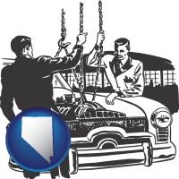 nevada auto mechanics hoisting an engine out of a car with chains