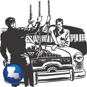 auto mechanics hoisting an engine out of a car with chains - with Louisiana icon
