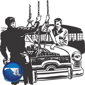 auto mechanics hoisting an engine out of a car with chains - with Maryland icon