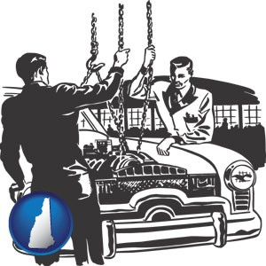auto mechanics hoisting an engine out of a car with chains - with New Hampshire icon