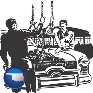 auto mechanics hoisting an engine out of a car with chains - with Oklahoma icon