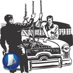 auto mechanics hoisting an engine out of a car with chains - with Rhode Island icon