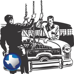 auto mechanics hoisting an engine out of a car with chains - with Texas icon